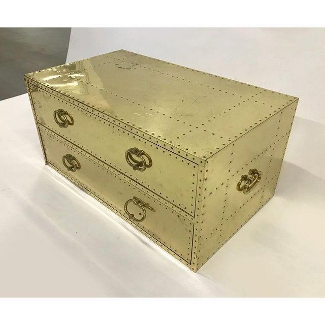 Brass Vintage Sarreid Ltd Two-Drawer Brass-Clad Chest For Sale - Image 8 of 11