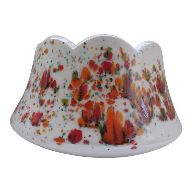 Vintage White Speckled Decorative Bowl or Planter For Sale
