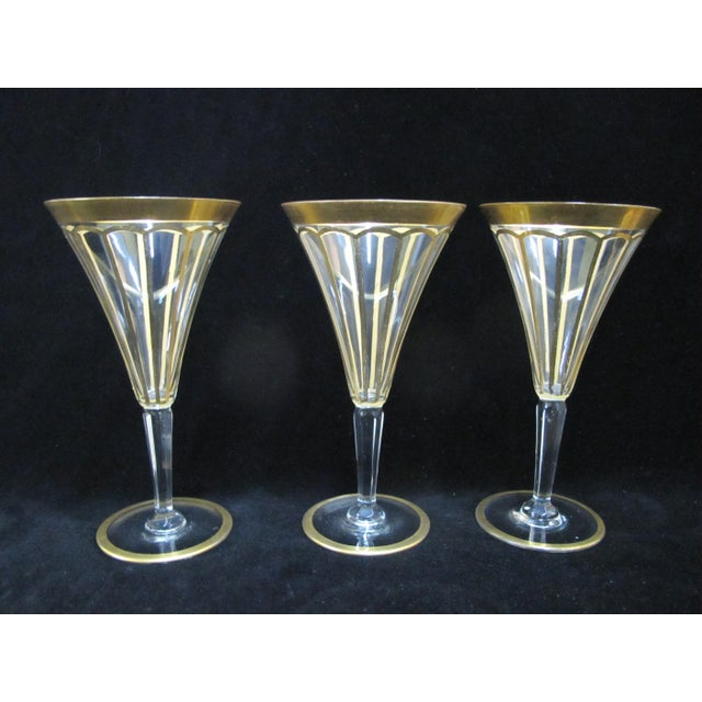 Early 20th Century Vintage Gold Gilt & Clear Champagne Wine Glasses- Set of 6 For Sale - Image 4 of 7