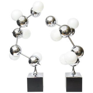 Pair of Robert Sonneman Atomic/ Molecule Midcentury Sculptural Lamps