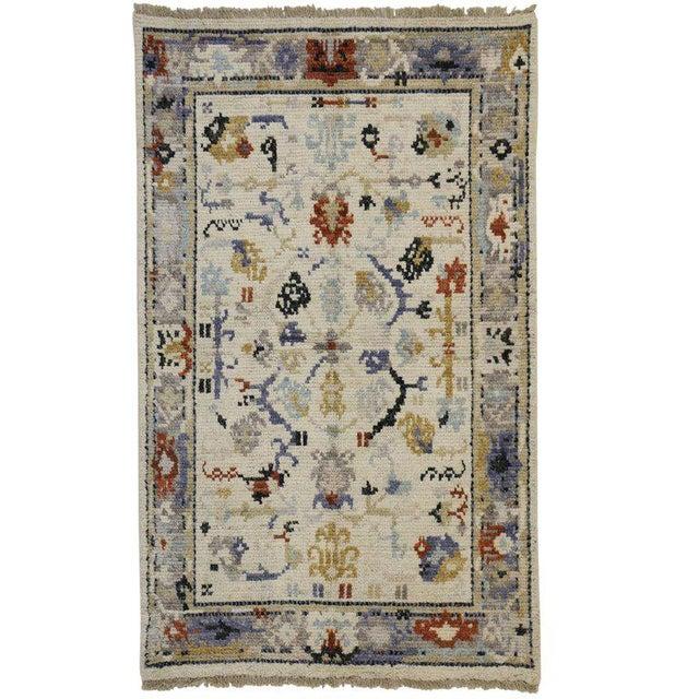 Transitional Blue and Cream Oushak Rug with Modern Traditional Style For Sale - Image 5 of 5