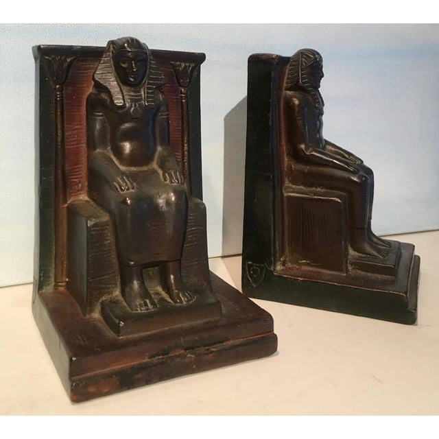 Pair of Copper Egyptian Pharaoh Bookends For Sale - Image 4 of 5