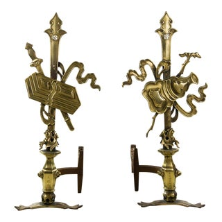 Oriental Brass Dragon Motif Andirons - a Pair For Sale