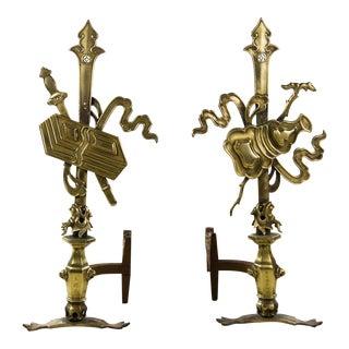 Oriental Brass Dragon Motif Andirons - a Pair