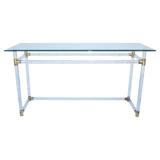 Lucite & Glass Console Table For Sale
