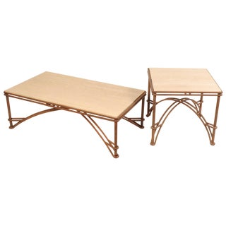 Maurice Villency Travertine Coffee Table and Side Table For Sale