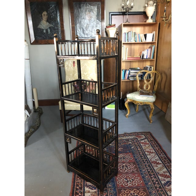 20th Century High-Quality Chippendale Style Asian Inspired Etageres Bookcase. Very fine vintage condition with only minor...
