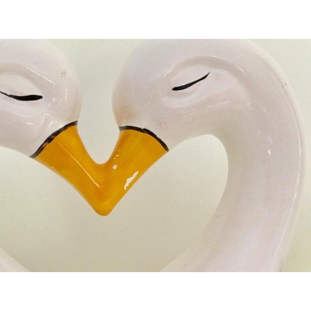 Vintage Mid Century Brazilian Ceramic Kissing Swans Double Planter For Sale - Image 6 of 7
