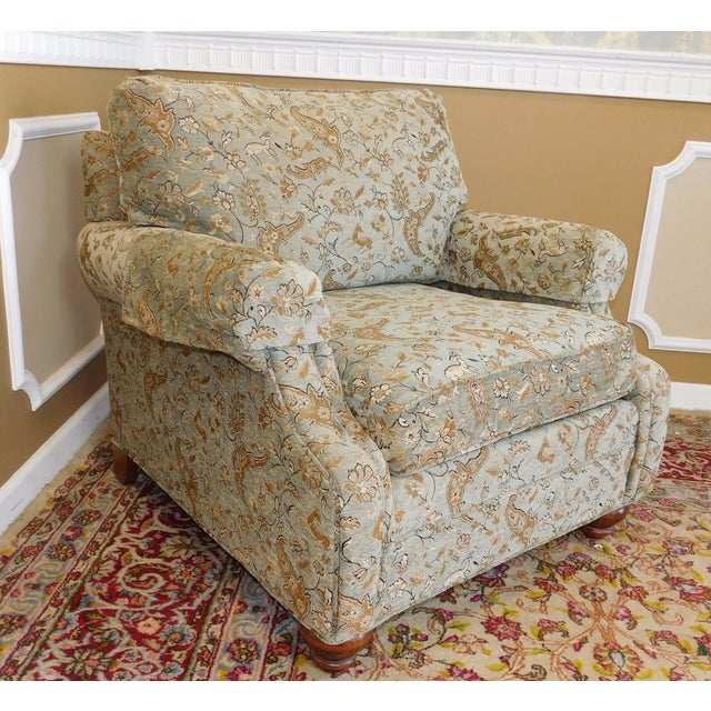 Ethan Allen Upholstered Armchair & Ottoman - Image 6 of 8