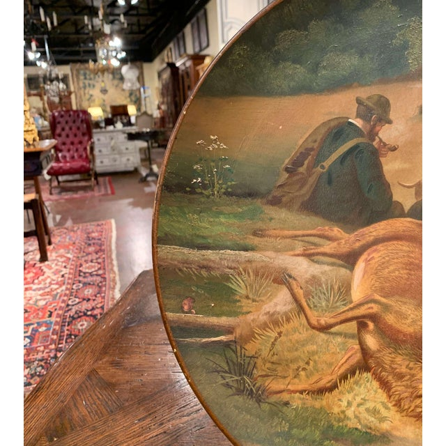 Early 20th Century German Hand Painted Ceramic Hunt Scene Wall Platter For Sale In Dallas - Image 6 of 13