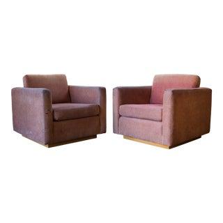 Mid Century Charles Webb 'Arlington' Cube Club Chairs - a Pair For Sale