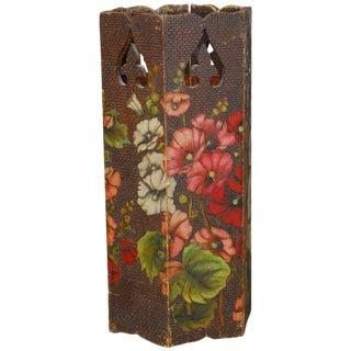 Moorish Floral Polychrome Carved Umbrella Stand