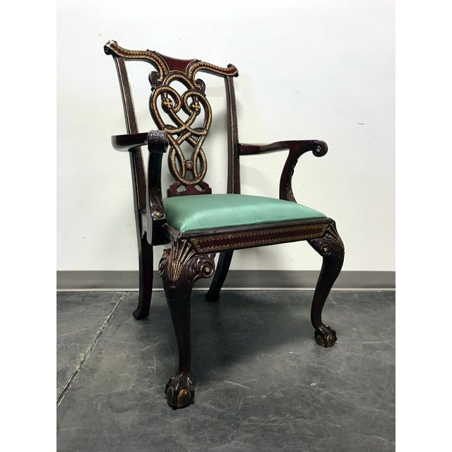 Maitland Smith Chippendale Ball Claw Tooled Leather Armchair For Sale - Image 12 of 13
