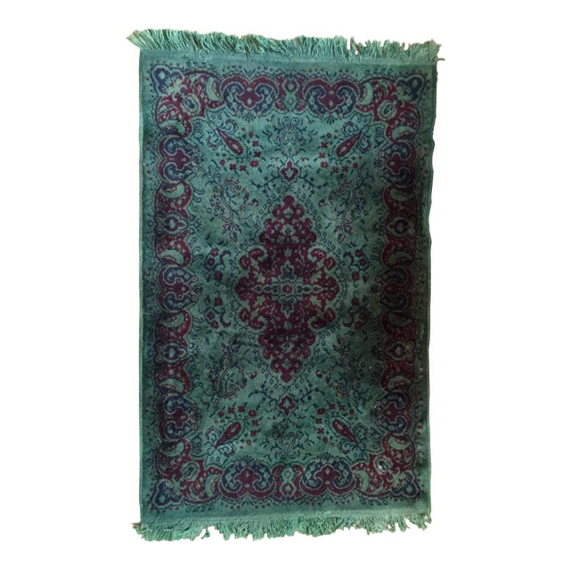 Vintage Over Dyed Distressed Green Wool Rug - 3 x 5 - Image 1 of 7