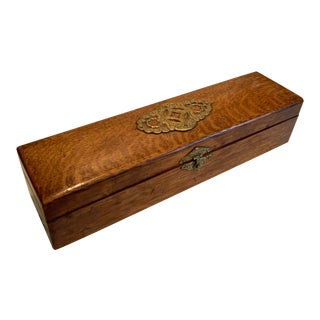 Victorian Wood and Brass Necktie Dresser Box For Sale