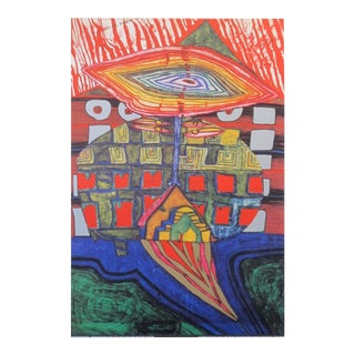 "1998 Original Exhibition Poster - ""The Eye and Beard of God"" by Hundertwasser For Sale"