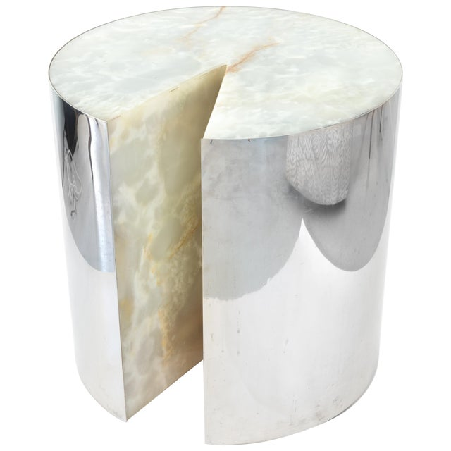 "Leon Rosen for Pace ""Pac-Man"" Stainless Steel and Onyx Side Table For Sale"