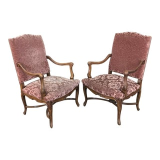 Pair Armchairs, 19th Century French Louis XV in Walnut For Sale