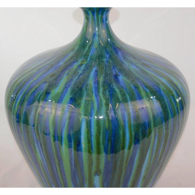Blue Green Glaze Mid Century Table Lamp For Sale In Denver - Image 6 of 7