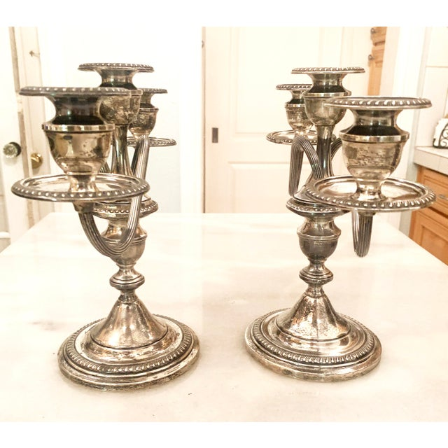 1940s Sterling Silver Three-Light Candelabras - a Pair For Sale In Denver - Image 6 of 11