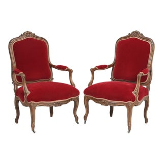 Italian Louis XV Style Armchairs - a Pair For Sale