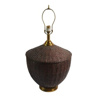 Maitland-Smith Woven Copper Basket Form Table Lamp For Sale