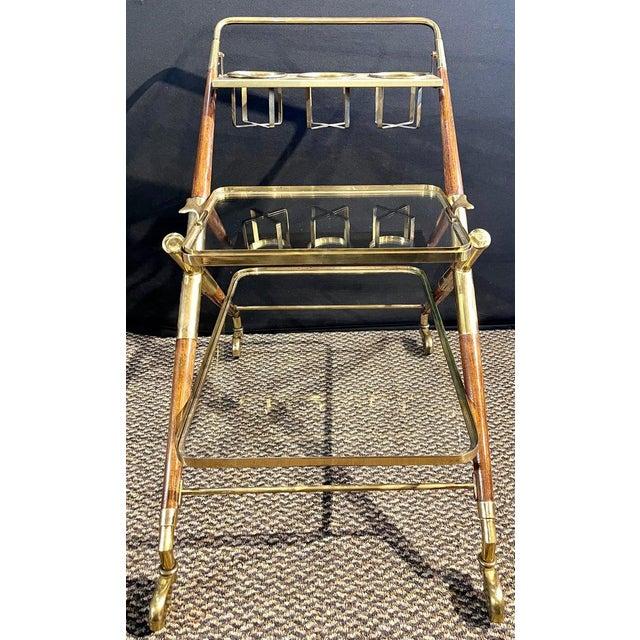Brass Mid-Century Modern Bar Cart, Teak and Brass For Sale - Image 8 of 13