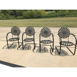 Francois Carre French Sunburst Garden Chairs Circa 1930 - Set of 4 Preview