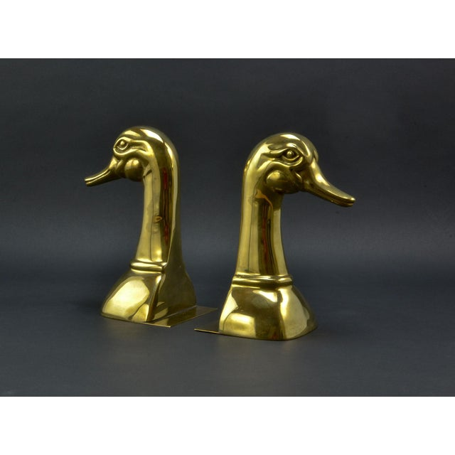 Pair of Solid Brass Duck Head Book Supports by Sarreid, USA, 1970s For Sale - Image 9 of 9