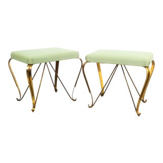 Pair of Midcentury Gold Brass Stools, Italy, 1950