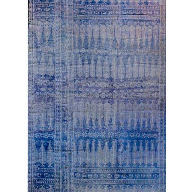 Islamic Vintage Blue and White Yadz Kilim For Sale - Image 3 of 9
