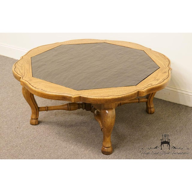 """French Thomasville Furniture Chateau Provence Collection 42"""" Slate Top Coffee Table For Sale - Image 3 of 11"""