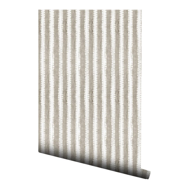 Japanese Beige Stripe Pre-Pasted Wallpaper - 2 Piece Set For Sale