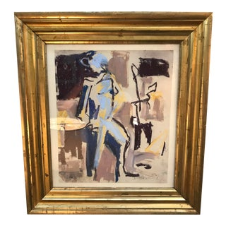 Contemporary Figurative Abstract Mixed-Media Painting, Framed For Sale