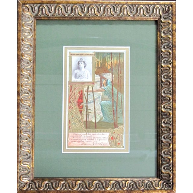 French Country Framed Art Nouveau French Biscuit Ads - A Pair For Sale - Image 3 of 4