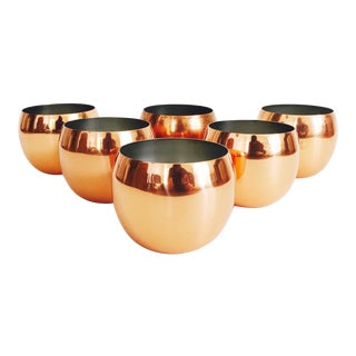 Copper Roly Poly Tumblers - Set of 6 For Sale