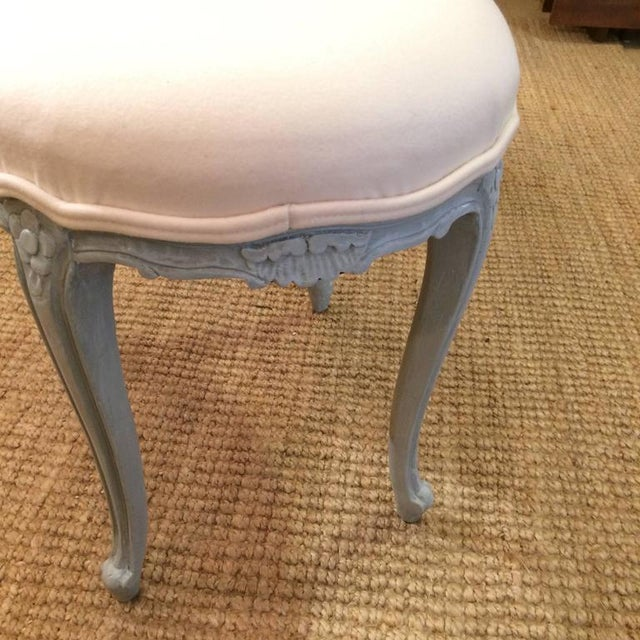 French Gray Wood Upholstered Oval Stools / Ottomans - a Pair For Sale - Image 4 of 6