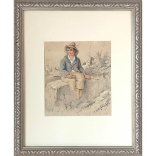 19th Century Antique Watercolor and Charcoal Portrait of a Young Goat Herder For Sale