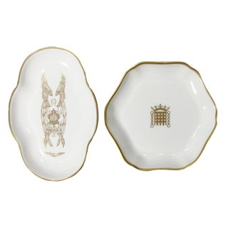 English Coalport Gilt Dishes, Pair For Sale