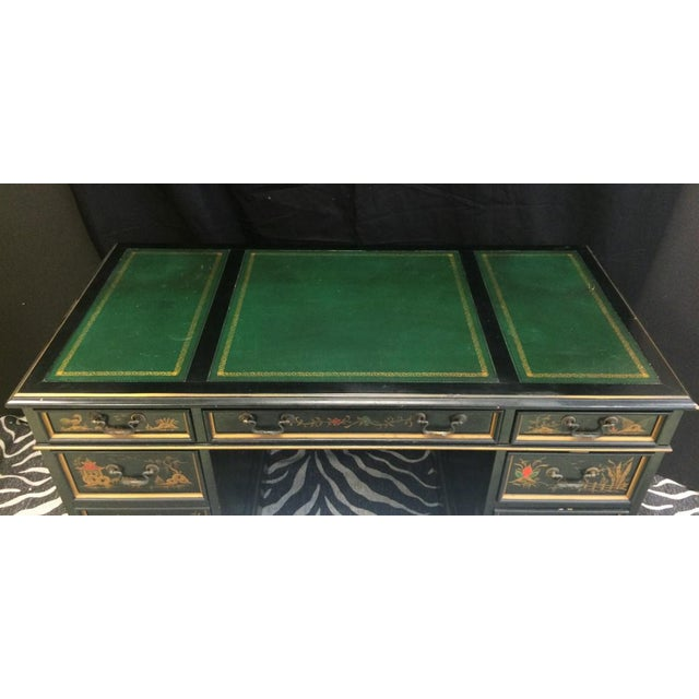 """Black """"Chinoiserie Kneehole Parsons Sligh-Lowry Desk"""" For Sale - Image 8 of 11"""