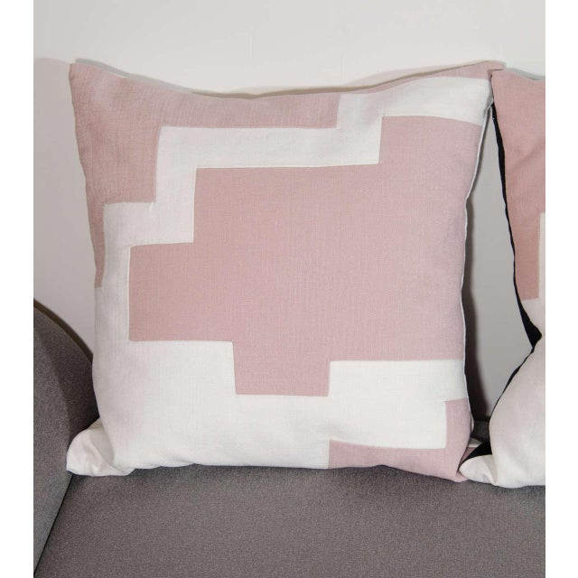 Abstract Architectural Italian Linen Throw Pillows by Arguello Casa For Sale - Image 3 of 7