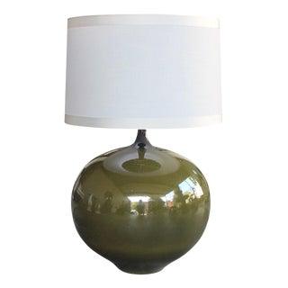 Impressive Danish, 1960s Olive-Green Glazed Orb-Form Lamp For Sale