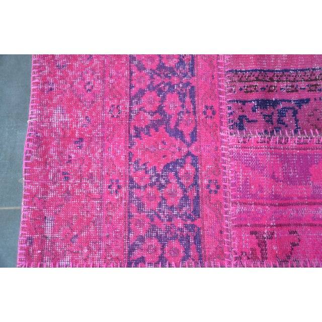 Pink Overdyed Turkish Anatolian Patchwork Carpet - 7′1″ × 10′ For Sale - Image 9 of 11