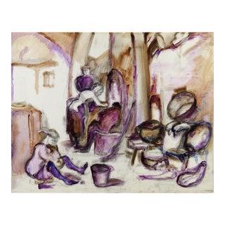 1960s Street Scene in Purple Oil on Canvas Painting