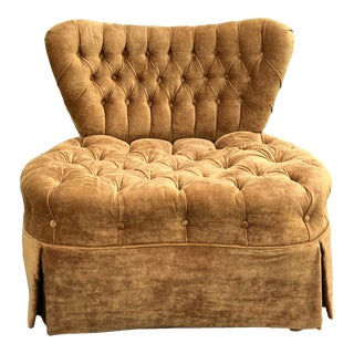 Vintage Wide Tufted Brown Velvet Barrel Club Chair For Sale