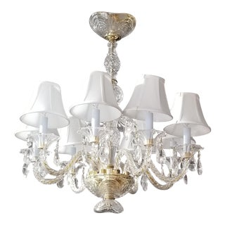 Crystorama Revamped Crystal & Brass Accented Chandelier For Sale