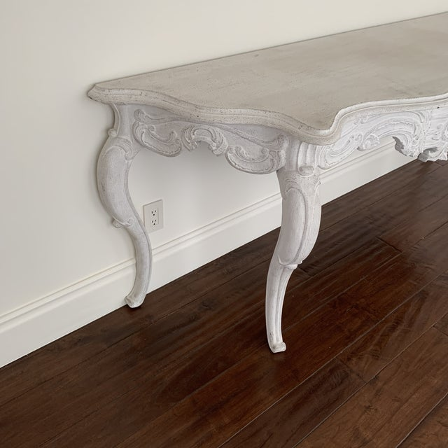 2010s White Wash Console Table For Sale - Image 5 of 9