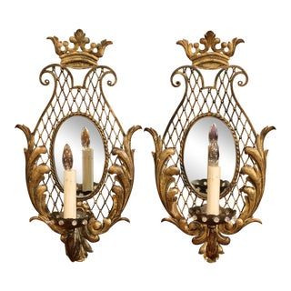 Pair of Early 20th Century French Iron Wall Sconces With Crystal and Mirror For Sale