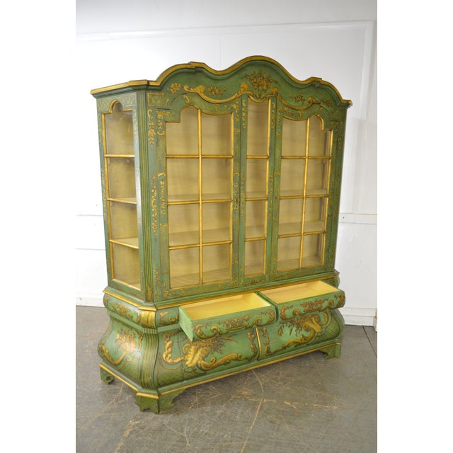 Green Italian Hand Painted Large Bombe Bookcase Breakfront For Sale - Image 8 of 11