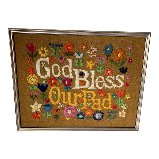 1960s Hippie God Bless Our Pad Framed Crewelwork For Sale